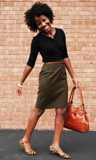 Stylish look with olive green pencil skirt and leopard flats