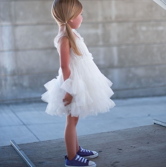 white tutu dress with blue sneakers