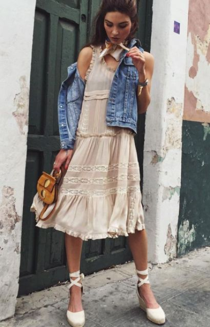 Look with chic dress, and lace up flats