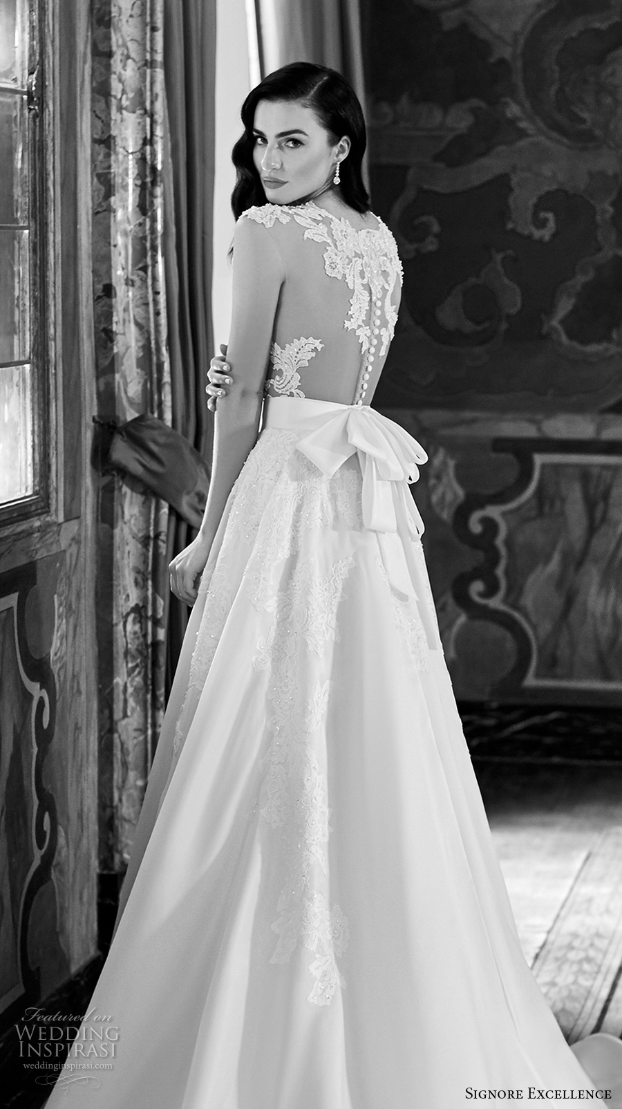 signore excellence 2017 bridal illusion scoop deep plunging heavily embellished bodice sexy gorgeous beautiful lace a line wedding dress lace back chapel train (erica) zbv