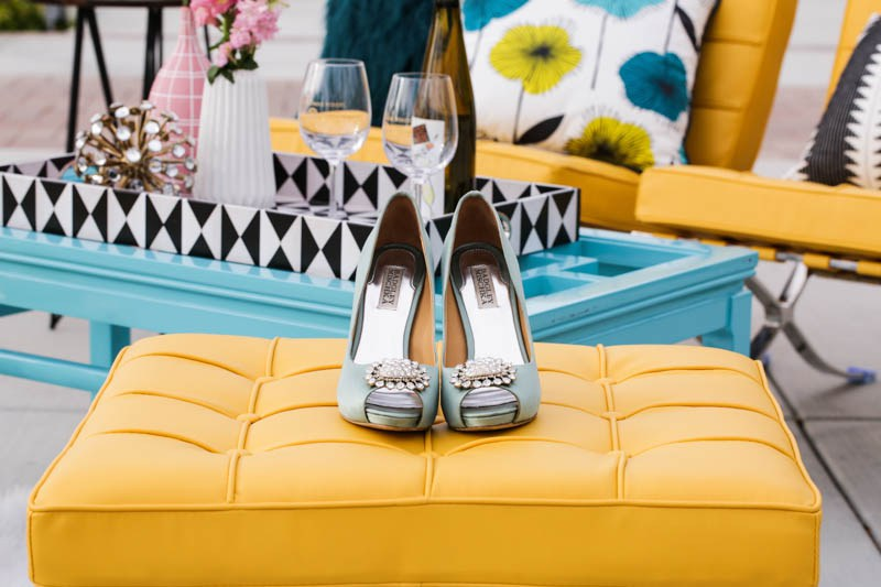 The bride rocked pale turquoise heels