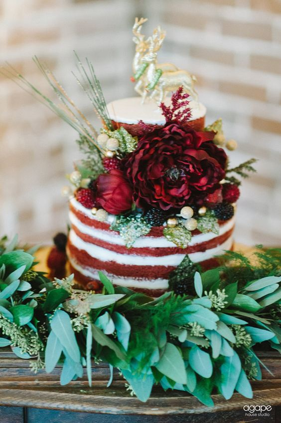 red velvet naked cake with bold flowers