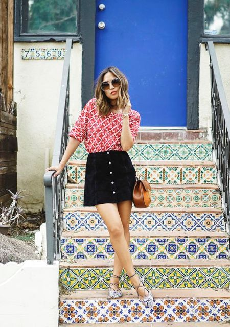 Printed shirt, black shirt and lace up sandals