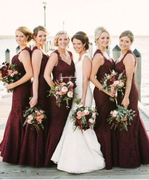 Structured burgundy maxi bridesmaid dresses