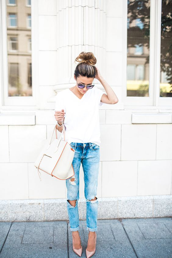 ripped jeans, a white tee and nude heels is classics