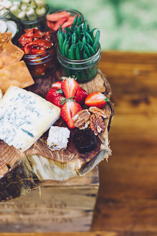 Rustic unique cheese platter with strawberries and pickled vegetables | Monika Gauthier Photography