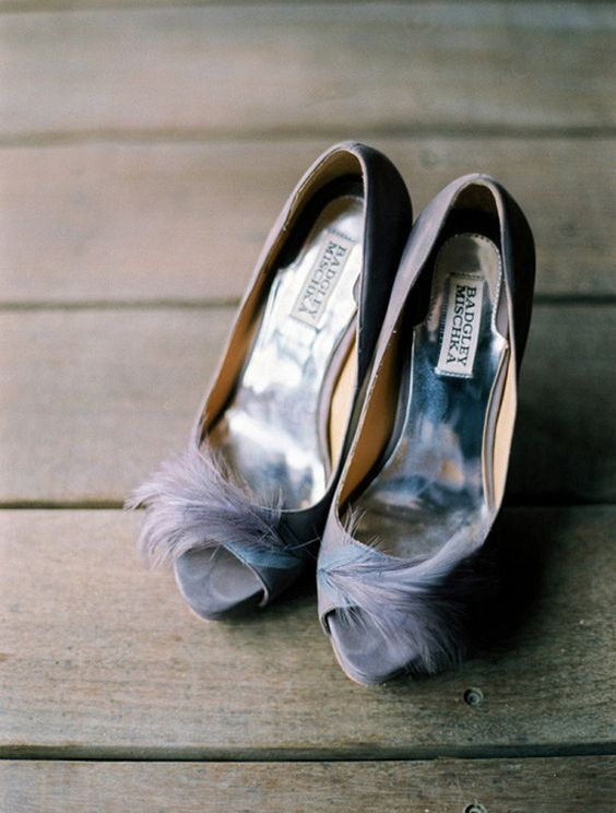 grey wedding shoes with feathers