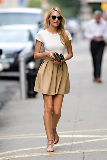 With simple white t-shirt and flat sandals