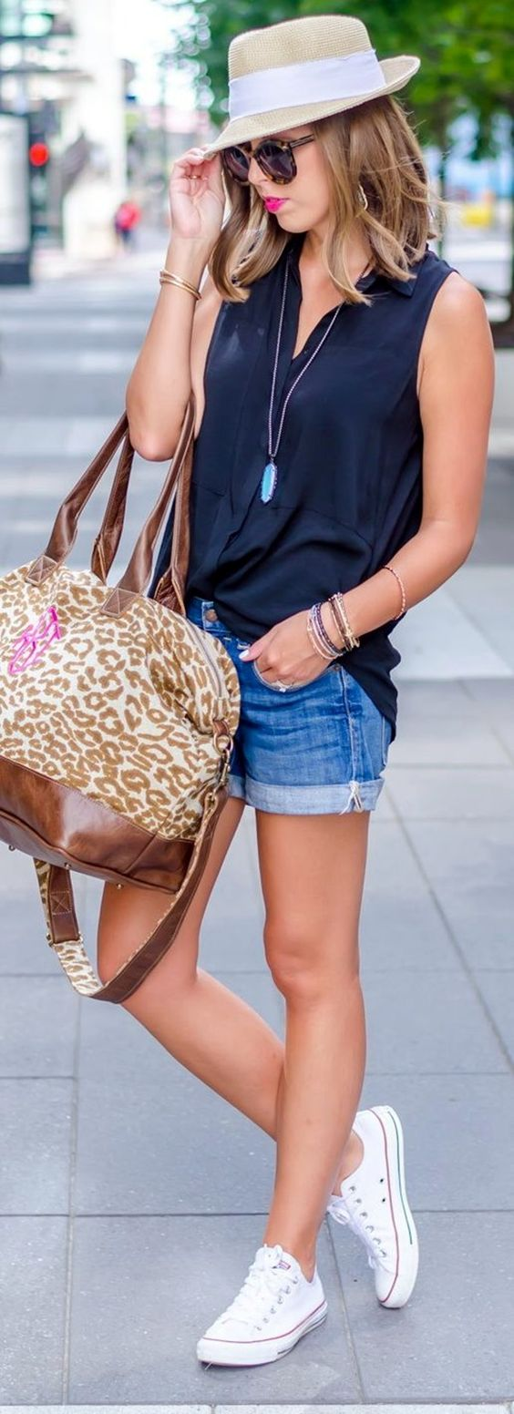 sleeveless shirt | denim shorts | sneakers