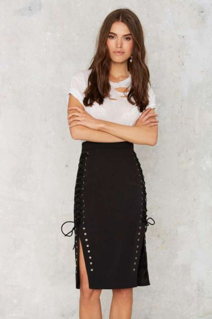 Lace up skirt and white top