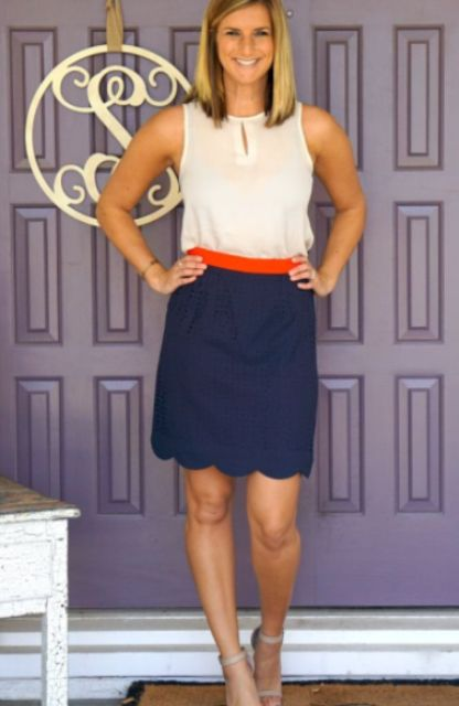 Look with skirt and white blouse