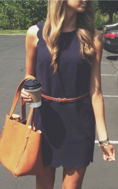 Office look with dress, belt and leather bag