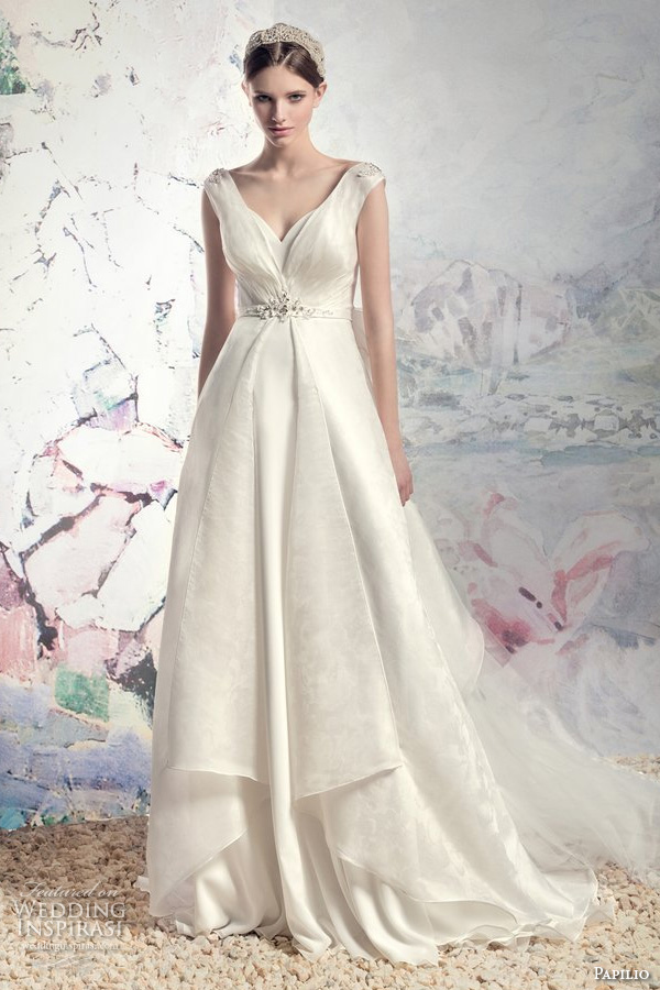 papilio 2016 bridal cap sleeves v neck romantic a line wedding dress v back chapel train removable (1610 dnepr) mv