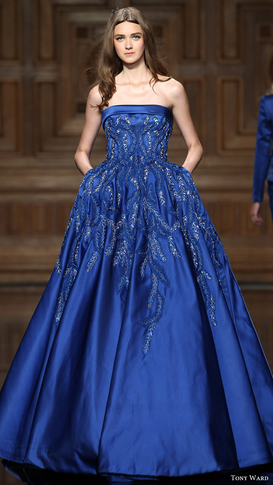 tony ward couture fall 2016 strapless straight across ball gown (03) mv