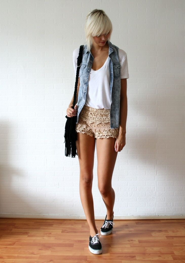 lace shorts, a white tee and a denim vest with Vans