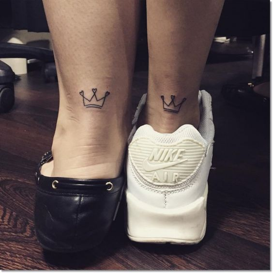 crown leg tattoos for a couple