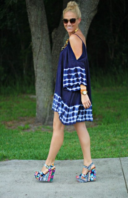 Cool off the shoulder tie dye dress and eye catching heels