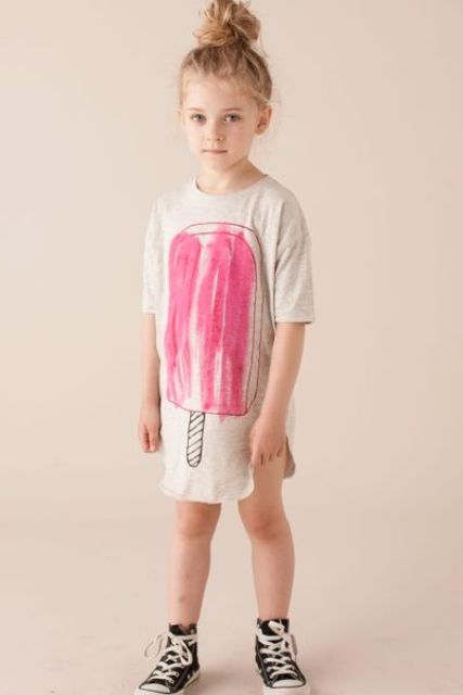 ice cream loose dress with black sneakers