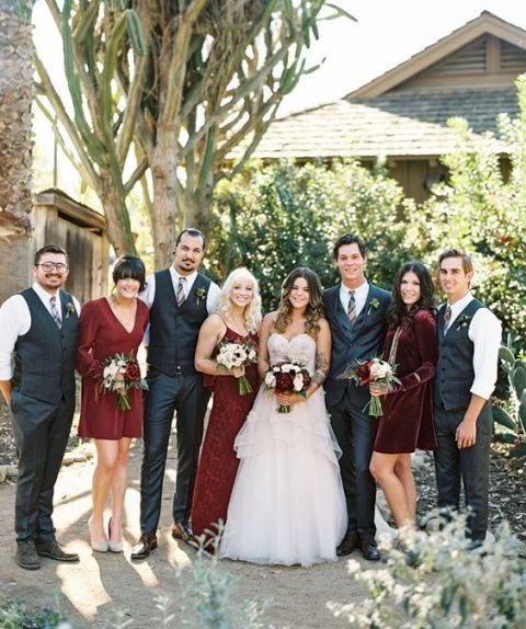 Various styled marsala bridesmaid dresses