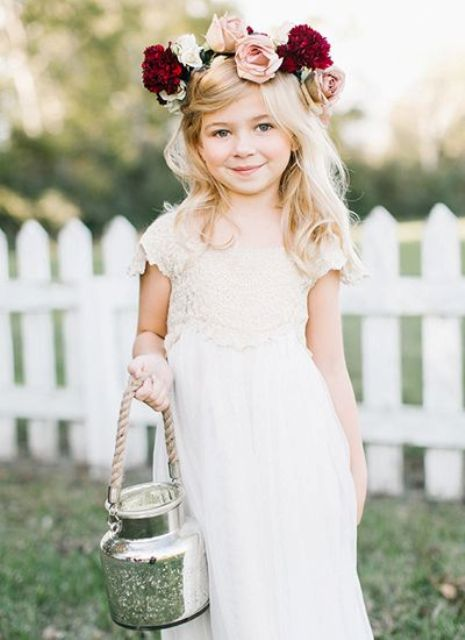 white lace dress with a bold fresh flower crown