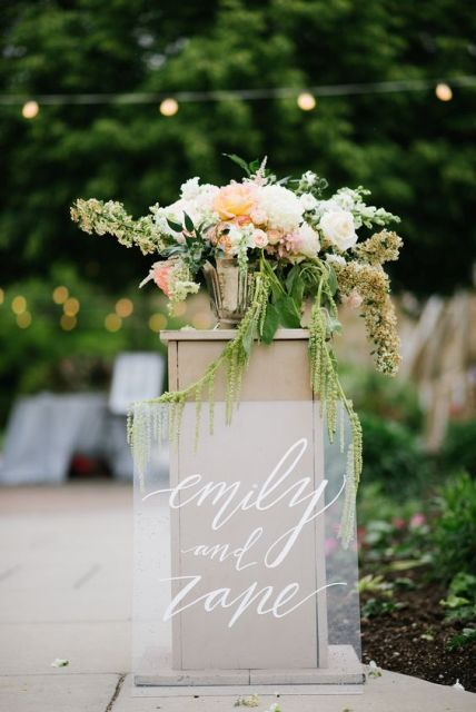 Beautiful lucite wedding sign