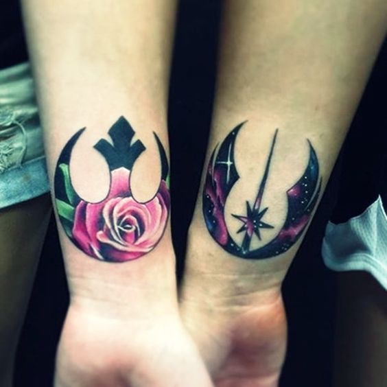 matching bold Rebel Alliance tattoos