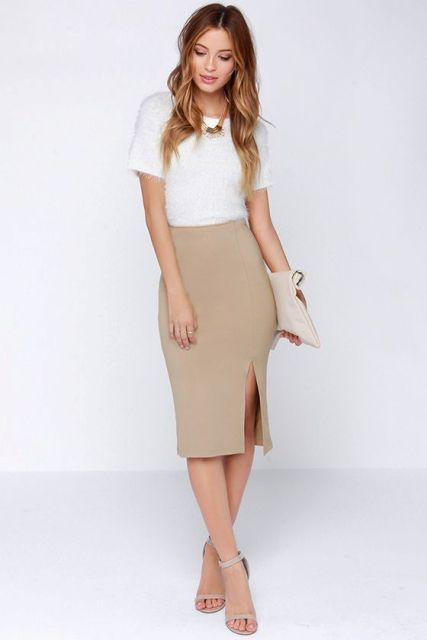 WIth white shirt, clutch and sandals