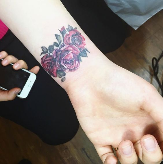 red roses on a wrist