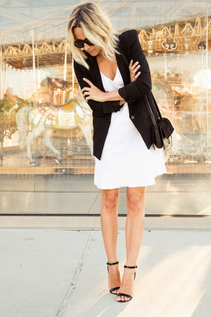 simple over the knee white dress, a black blazer and black heels