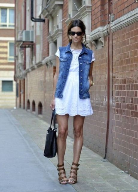 Cool look with white dress and vest