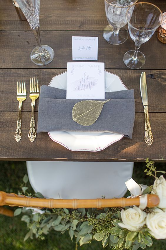 grey wedding table decor