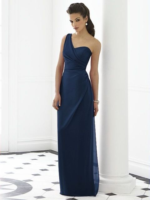 Chic one-shoulder dress and elegant accessories