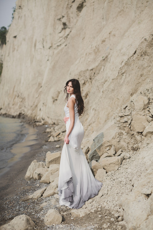 This seemingly simple wedding dress catches an eye with its ombre skirt
