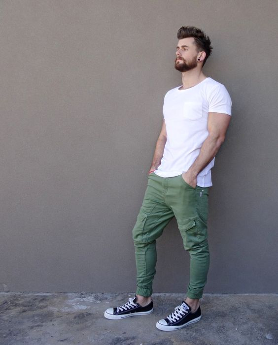 green jeans, a white t shirt and black Converse for sporty casual looks