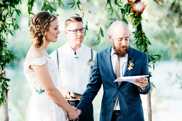 grooms crying - photo by Veronica Ellerman Photography http://ruffledblog.com/vibrant-bohemian-wedding-inspiration
