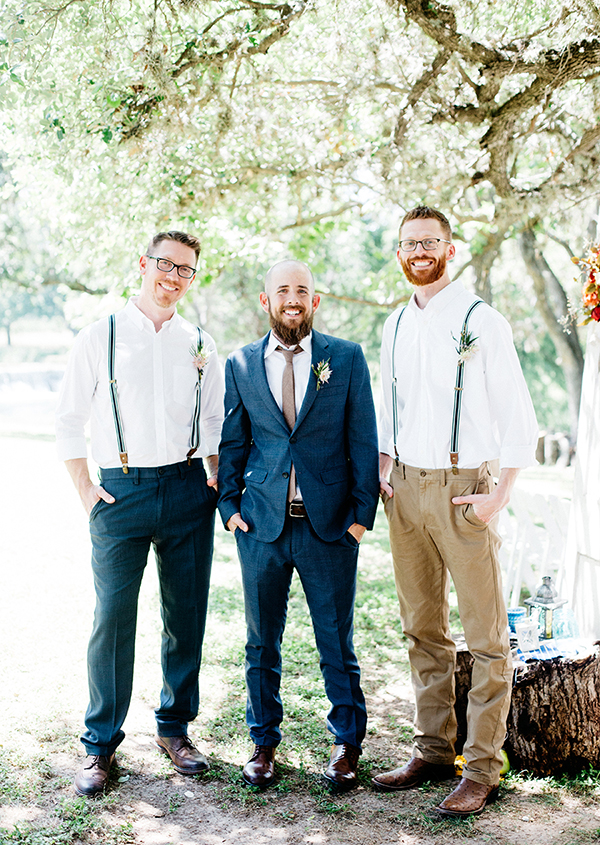 groom and groomsmen attire - photo by Veronica Ellerman Photography http://ruffledblog.com/vibrant-bohemian-wedding-inspiration