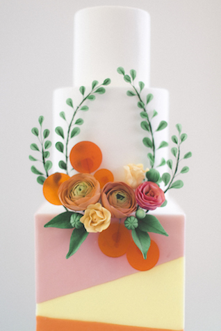Modern, bright, and colorful wedding cake | Stephanie Yonce Photography