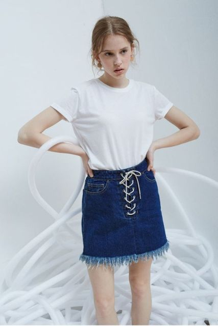 Classic look with denim lace up skirt with fringe hem