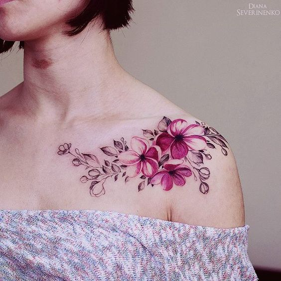 pink flowers watercolor tattoo