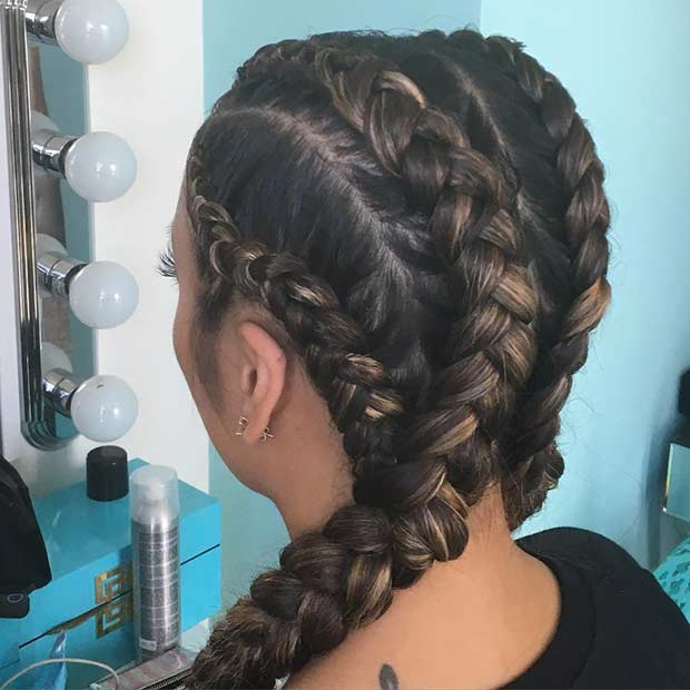 Caramel Cornrows with Extensions