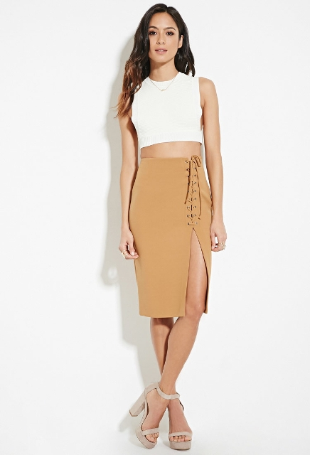Elegant look with midi skirt and crop top