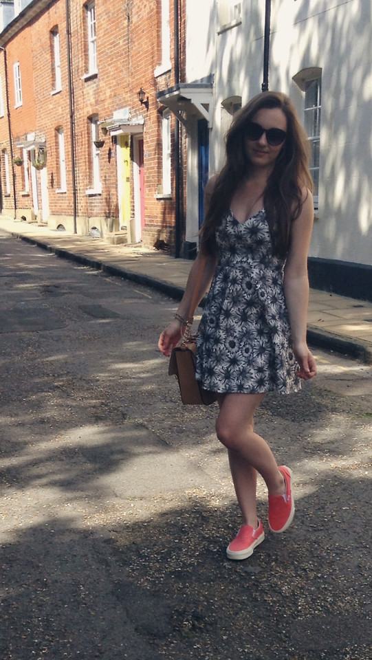 printed over the knee dress and red classic Vans