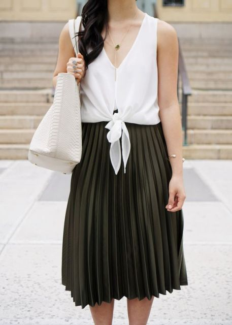 Pleated skirt and unique white shirt