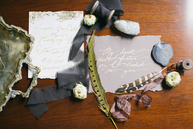 Calligraphy wedding invites with heather and gold colors | Alena Plaks
