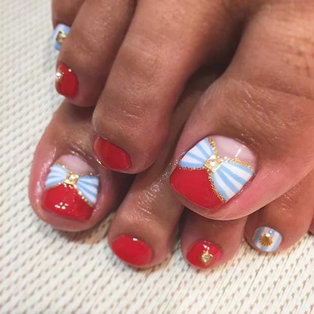 Cute Red Bow Toe Nail Design for Summer