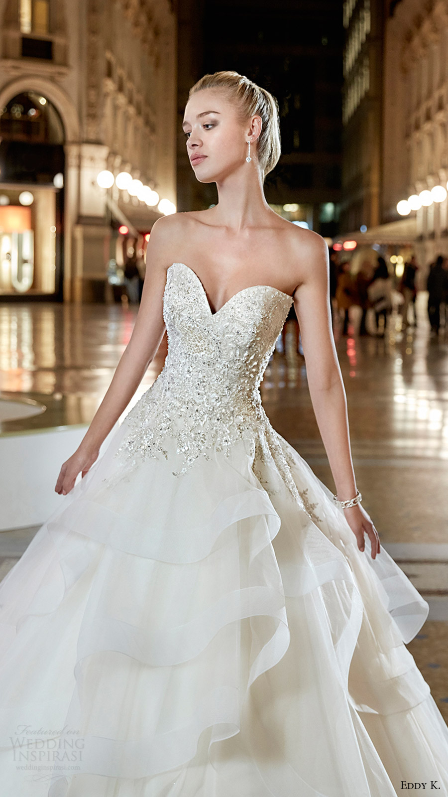 eddy k milano bridal 2017 strapless sweetheart embellished bodice tiered skirt ball gown wedding dress (md200) zfv