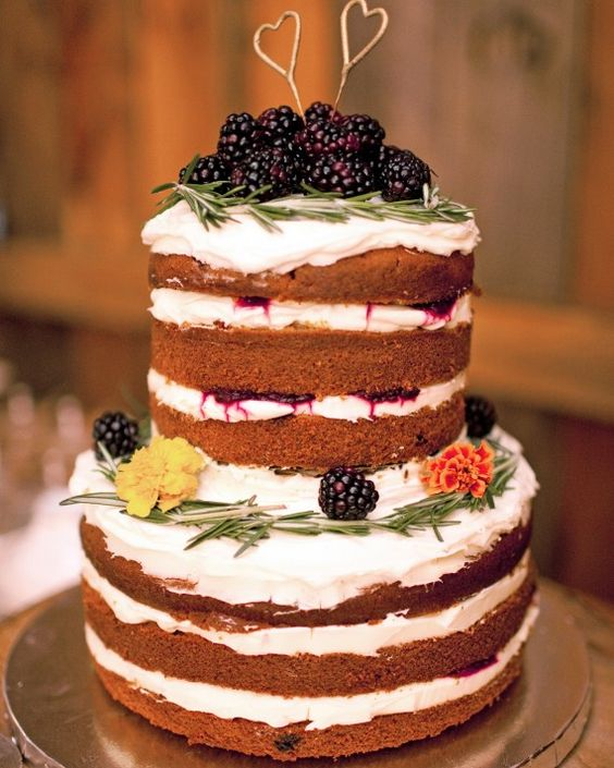 simple blackberry naked wedding cake
