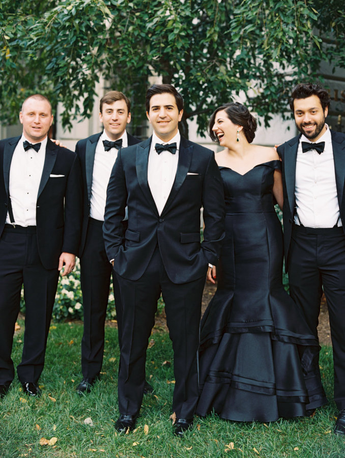 The groom's friends also rocked tuxedos and black