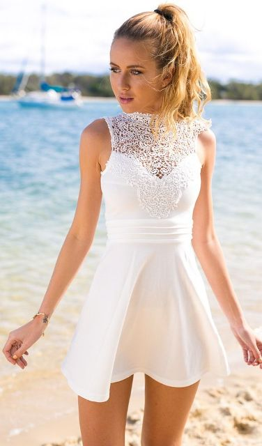 White dress with lace top