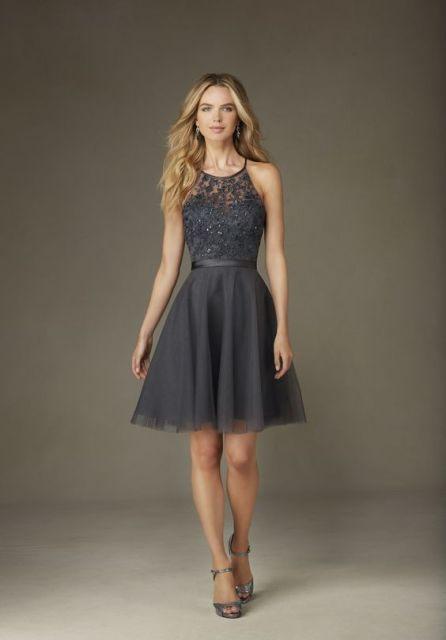 Stylish gray dress with lace top